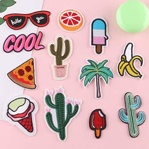 BLOUR Parches de Cactus de Helado de Verano, Parche con Apliques de Rayas, Insignia para Coser, Pegatina en la Mochila, Camiseta, Gafas de Sol, Parches para Planchar