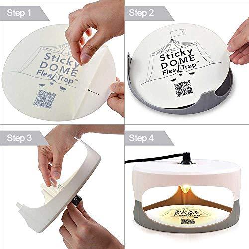 KOBWA Flohfalle, Elektronische Sticky Dome Flohfalle mit 2 Sticky Discs und 2 Glühbirnen, Schädlingsbekämpfung für Haus und Haustiere - 6