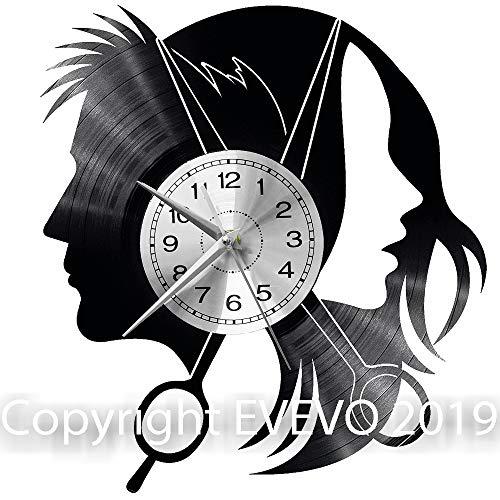 """EVEVO Peluquería Reloj De Pared Vintage Accesorios De Decoración del Hogar Diseño Moderno Reloj De Vinilo Colgante Reloj De Pared Reloj Único 12"""" Idea de Regalo Creativo Vinilo Pared Reloj Peluquería"""