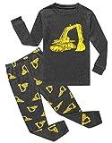 KikizYe Little Boys Construction Summer Pajamas Short Sets 100% Cotton Pants Sets Toddler Kid 4T