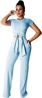 ECHOINE Women's Sexy 2 Piece Outfits - Short Sleeve Crop Top Wide Leg Pants Set Sweater Jumpsuits S XXL - Multicolored - XX-Large Blue