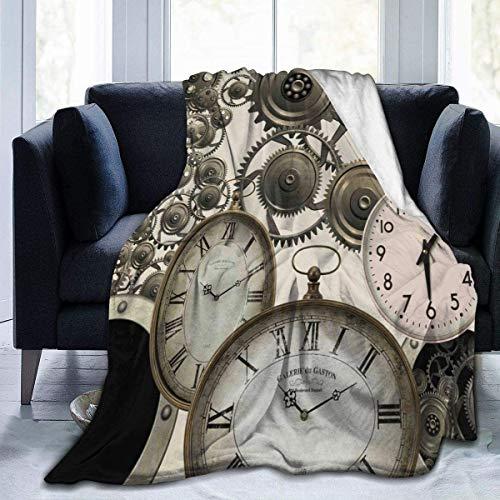 Bernice Winifred Manta Relojes Steampunk Vintage Manta de Forro Polar Retro Manta Plegable Sofá Sofá Lavable Manta difusa Manta de Felpa Reversible Manta de Playa para Oficina en casa , 60'x 50'