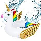 ALHX Unicorno Giocattoli galleggianti per Bambini, Salvagente Unicorno con Ali Materassino Gonfiabile Bambino Anello di Nuoto per Bambini Piscina Estiva all'aperto Giocattoli