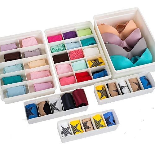 Uncluttered Designs Organizadores de Cajones Ajustables Plástico Duradero Apilable para Ropa Interior Manualidades Oficina Baño y Almacenamiento (Blanco, 6 Piezas)
