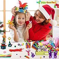 WuikerDuo, set di materiali creativi per bambini, include colla glitterata, pompon, pulitori per tubi, bastoncini per ghiaccioli per bambini e bambini #6
