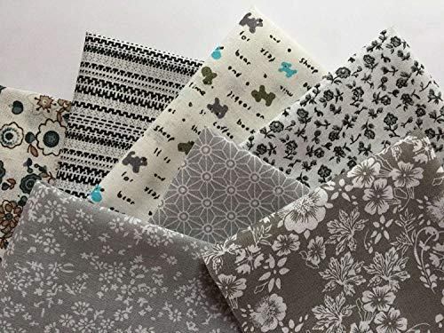 Lena: bonito paquete de tela de algodón con 7 piezas en gris, aprox. 24 x 24 cm, gran mezcla de patrones de tela: flores, lunares, rayas, cuadros, etc.