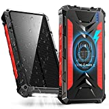 Solar Power Bank 36000maAh, QI Wireless Outdoor Waterproof Portable Solar Charger with 3