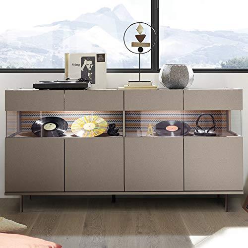Buffet 4 deuren met LED Design Taupe Castelli 8