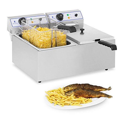 Royal Catering Freidora Electrica Profesional Doble RCEF 15D (2 x 17 L, 3.000 W, Termostato, Rango de temperatura 60-200 °C, Acero inoxidable)