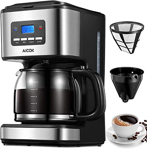 AICOK Filter Coffee Machine, 1.8 Litre Drip Coffee Maker, 60s Fast Brewing, Programmable 24hr Timer, Keep Warm & Anti-Drip Function, Reusable Filter for Coffee and Tea Brewing, Stainless Steel, 900W