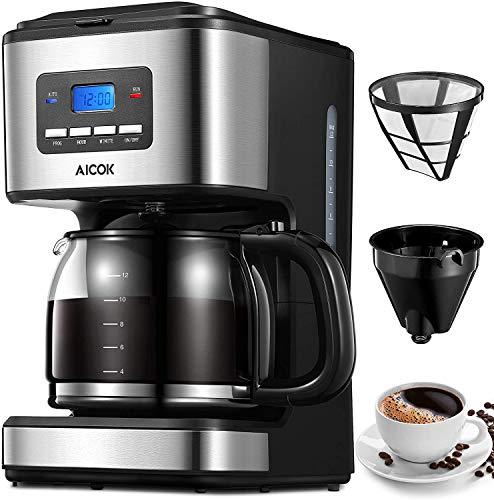 Aicok Cafetera, Cafetera Goteo, Cafetera Goteo Programable, Cafetera Goteo Filtro Permanente, Jarra...