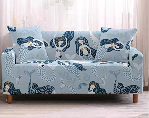 Funda de sofá de 4 Plazas Funda Elástica para Sofá Poliéster Suave Sofá Funda sofá Antideslizante Protector Cubierta de Muebles Elástica Patrón de niña Azul Funda de sofá