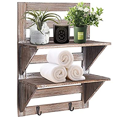 RHF Rustic Farmhouse Decor, Bathroom Shelves of Real Wood, Pallet Shelf, Wood Storage Shelving Rack-2 Tier, Bathroom Shelf & Bathroom Decor, Wall Mounted Wood Rack with 2 Hooks, Nails Included
