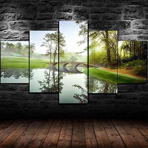 BDFDF Impresión En Lienzo 5 Piezas Lienzos Decorativos XXL Campo De Golf...