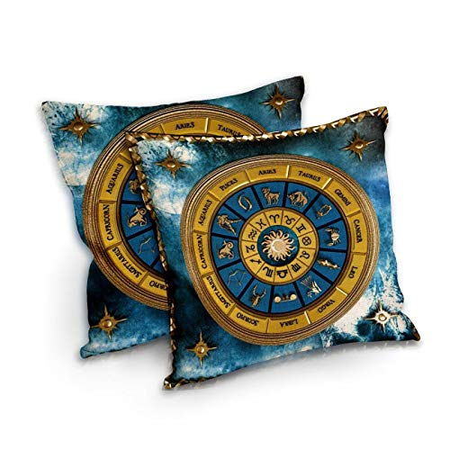 PPreadyto888 Zodiac Wheel Decorative Pillow with Inserts Cotton Linen Blend Square Zippered Throw Pillow for Couch Sofa Bed Home 18x18 inch Set of 2