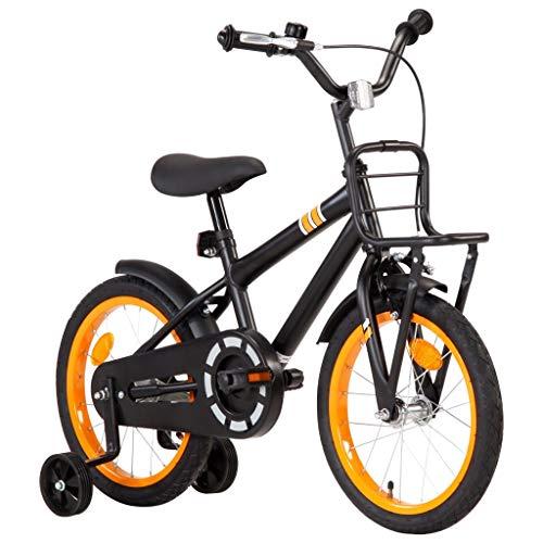 Extaum Kinderfahrrad mit Frontgepäckträger 16 Zoll Jungenfahrrad Kinderfahrrad Kinderrad Spielrad Fahrrad Schwarz und Orange