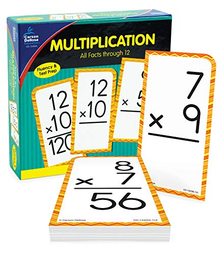 Carson Dellosa Multiplication Flash Cards—Grades 2-5 Double-Sided Cards, Multiplying All Math Facts From 0-12, Elementary Mathematics Practice (169 pc)