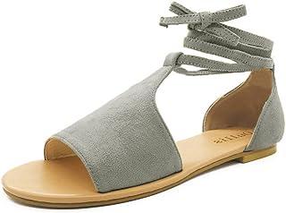 f0a0d145d24 JJLIKER Women Gladiator Peep Toe Lace Up Flat Sandals Comfort Suede Shoes  Summer