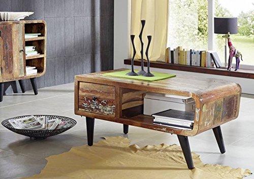 MASSIVMOEBEL24.DE Altholz Massivmöbel Vintage lackiert Couchtisch 120x60 massiv Holz Möbel vollmassiv Sixties #106
