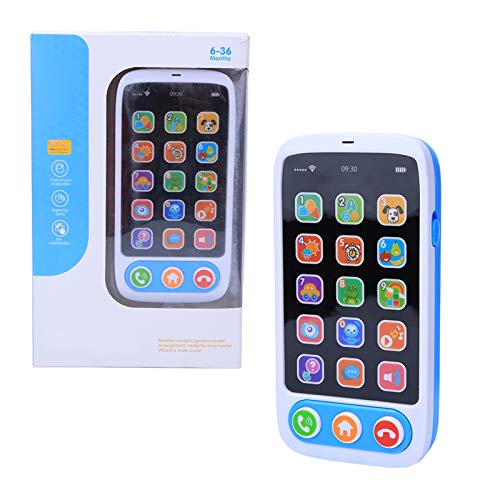 Atyhao Telefon Spielzeug, Musik Spielen Lernen Pädagogisches Handy Simuliert Smart Handy Musik Lichtspielzeug für Baby Kinder(Blau)