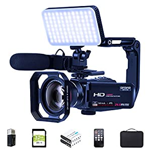 Camcorder Video Camera FHD 1080P 30FPS Vlogging Camera Digital Video Recorder Wifi Camera Infrared Night Vision Camcorders with Mic, LED Light, Wide Angle Lens, Handheld Stabilizer and Carrying Case by ORDRO