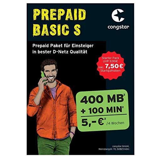Congstar Prepaid Basic S mit 7,50 € Guthaben (400 MB Datenvolumen + 100 Minuten in alle dt. Netze) SIM Karte