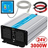 CARRYBATT 3000W Pure Sine Wave Power Inverter DC 24V to AC 230V 240V Converter With Remote Control, dual AC outlets,Dual cooling fans &1 USB Port for RV Truck Car
