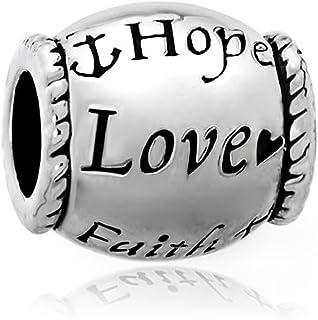 سحر سحر الأمل الحب الإيمان مطلي بالفضة من CharmSStory الخرز للأساور