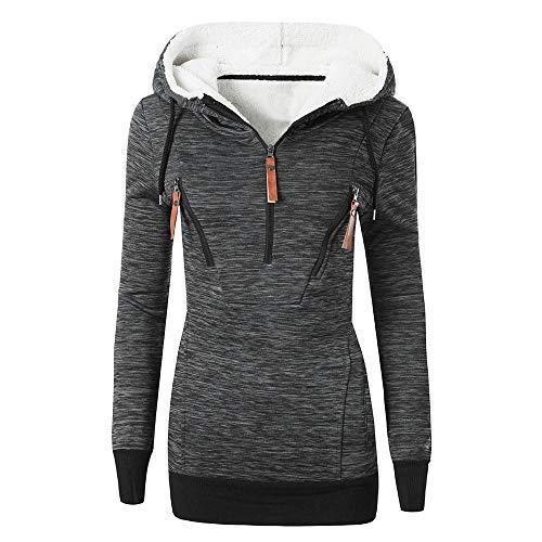 FRAUIT Damen Warme Fleece Sweatshirt mit Kapuze Zip Hood Long Damen Lange Sweatjacke Kapuzenjacke Sweatshirtjacke Mit Kapuze Und Fleece-Innenseite