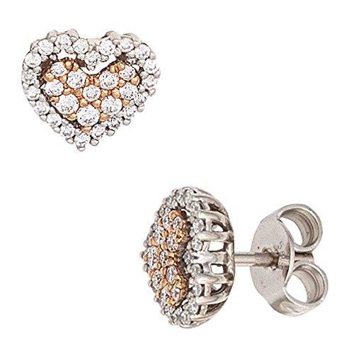 JOBO Ohrstecker Herz 585 Gold Weißgold Rotgold 60 Diamanten Brillanten Ohrringe