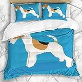 ZORMIEY Ropa de Cama - Funda nórdica Pyrenees Breed Wire Fox Terrier Perro Fluffy Great Hunting Cabello Largo Diseño Microfibra Nuevo Set de Tres Piezas Funda de edredón 220 * 240
