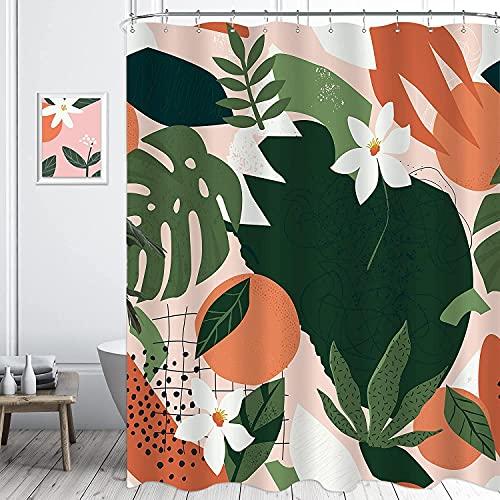 KOMLLEX Duschvorhang-Set, abstraktes tropisches Obst, Orange, 183 x 188 cm (B x H), ästhetische Naturpflanze, Pflanzen-Badezubehör für Frauen, rosa Blume, Blätter, Badewanne, 12 Haken