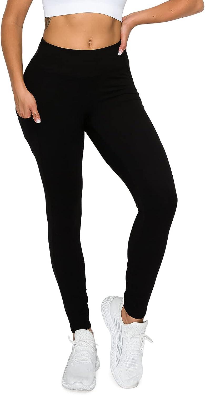 Berrypublic Active Sports Yoga Leggings w/Slim Fit Side Pocket Stitch Wide Waistband