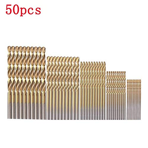 Basic Cellphone Cases CZMY 50pcs/Set High Speed Steel Titanium Coated Twist Drill Bit Set Wood Drilling Hole Woodworking Wood Tool for DIY Home Building Drill Bits