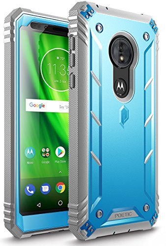 Moto G6 Play Rugged Case, Moto G6 Forge Rugged Case, Poetic Revolution [Built-in-Screen Protector] Heavy Duty Full Body Case for Moto G6 Play/Moto G6 Forge (2018 US Version) - Blue