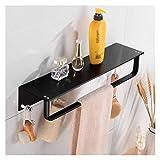 JTWJ Scaffale per Il Bagno Black Black Bathroom Shelpends Doccia Shampoo Scaffale per Ammortizzatore con Portasciugamani A Parete Gancio Porta Appeso