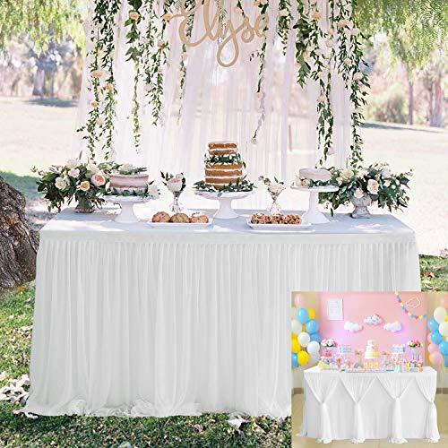 HBBMAGIC Tüll Tischrock Weiß DIY Style Tischröcke Party Deko Für Hochzeit, Geburtstag, Candy Bar, Weihnachten, Babyparty