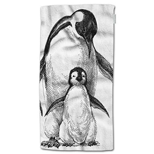"""HGOD DESIGNS Hand Towel Penguins,Cute Baby Penguin and Parent Penguins Sketch Hand Towel Best for Bathroom Kitchen Bath and Hand Towels 30"""" Lx15 W"""