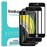 laxikoo Cristal Templado para iPhone SE 2020 /iPhone 8 /iPhone 7 (4,7''), 2 Piezas Cobertura Completa Protector Pantalla [Marco Instalación Fácil] Dureza 9H Vidrio Templado Sin Burbujas Anti-Arañazos