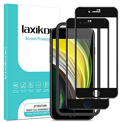 laxikoo 2 Pezzi Vetro Temperato per iPhone SE 2020 /iPhone 8/7, Copertura Completa Pellicola Protettiva [Cornice di Allineamento], 9H Durezza Protezione Schermo [Senza Bolle] [Anti Graffio] - 4.7''