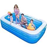 Piscinas inflables para adultos y niños Grandes piscinas gruesas rectangulares Familia Lounge Pool Piscina familiar Centro de natación para jardín de verano al aire libre, Azul,150* 105*75 cm