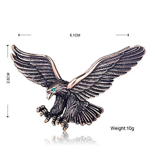XZROOKEI Vivid Vintage Adler Vögel Broschen Kristall Antik Silber Farbe Tier Corsage Frauen Männer Kleidung Hut Zubehör Abzeichen Antik Gold Farbe