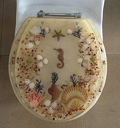 ELONGATED BEIGE SEASHELL and depot SEAHORSE TOILET CHROME outlet RESIN SEAT