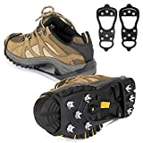 QINI Crampons for Boots, crampons for Hiking and Anti-Skid, Walking Traction Cleats for Walking on Snow and ice, Upgraded Stainless Steel Cleats, The Best Choice for Winter Hiking Gear (M)