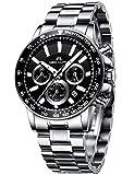 Relojes de Hombre Relojes de Pulsera Cronógrafo Deportivo Impermeable Plata Acero Inoxidable Relojes Hombre Negocios Casuales Analogicos día Fecha Calendario