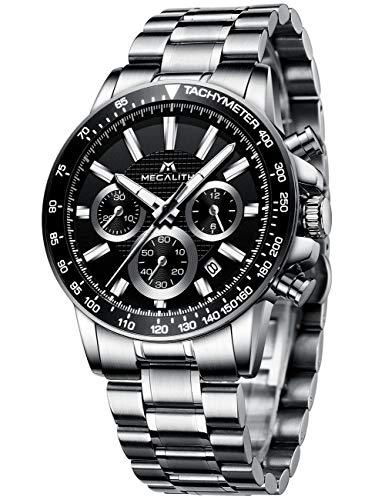 MEGALITH Herrenuhr Chronographen Herren Armbanduhr Silber Edelstahl Wasserdicht Uhren fur Männer Schwarz Ziffernblatt Designer Business Uhr Leuchtende Analog Datum