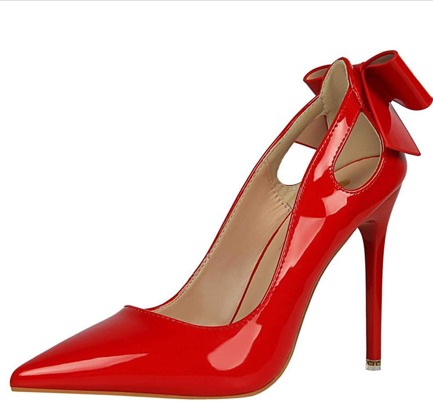shoes Court shoes Women's shoes High Heel Sexy Slim High-Heeled shoes Fine Heel Shallow Mouth Pointed Patent Leather After Hollowing Out Butterfly Knot Haiming (color   Red, Size   37)