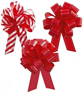 Christmas Deluxe Print Red and White Pull Bows - Set of 18, 3 Designs, 5