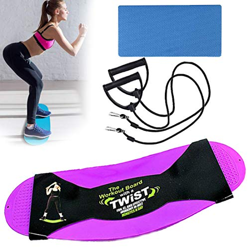 JIAMIN Fitness Twist-Board,Twisting Core Fitness Balance Board Für Bauchmuskeln und Beine, mit Widerstand Bands und Schaumstoffplatte für Home Gym Office Das Yoga Board (lila)