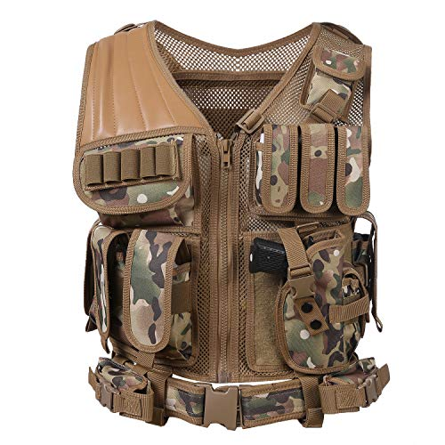 Hotsung Tactical Vest for Military Combat Training/Field Operations and Special Missions - Lightweight Breathable Airsoft Vest/Adjustable Sizes/Men/Women/600D Assault Gear